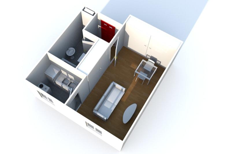 Grand studio avec cuisine séparée, Quartier IUT et des lycées d'Elbeuf - Image 3