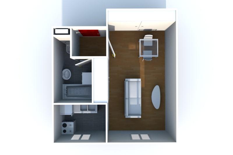 Grand studio avec cuisine séparée, Quartier IUT et des lycées d'Elbeuf - Image 4