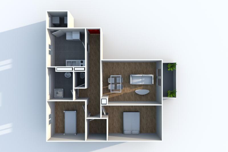 Appartement T3 en location avec balcon à Canteleu - Image 4